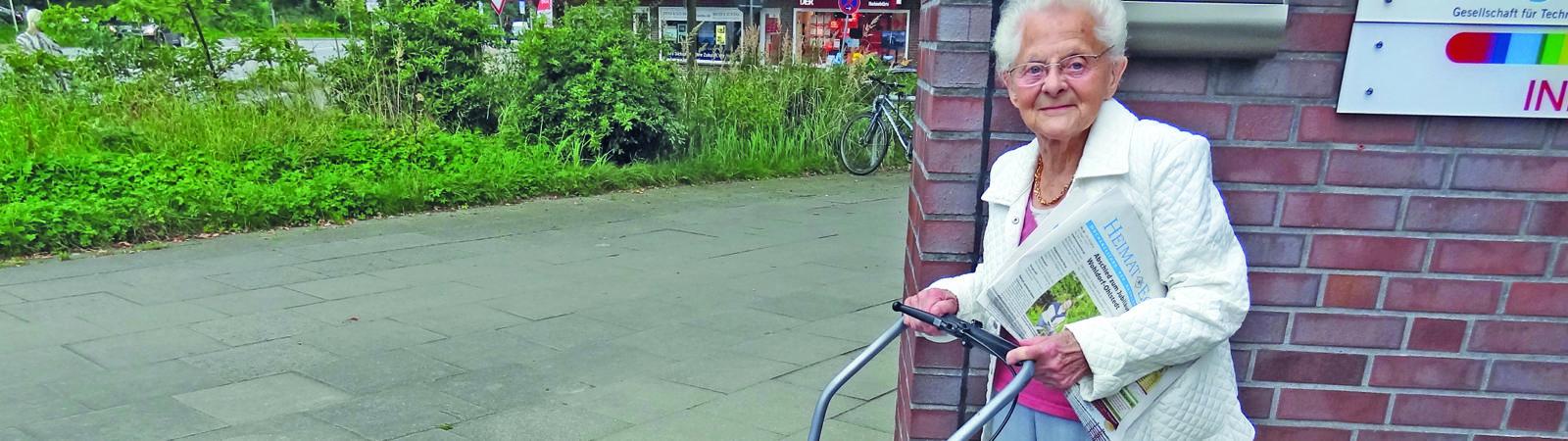 Käthe Ewert ist die älteste Zeitungsausträgerin in Hamburgs Nord-Osten