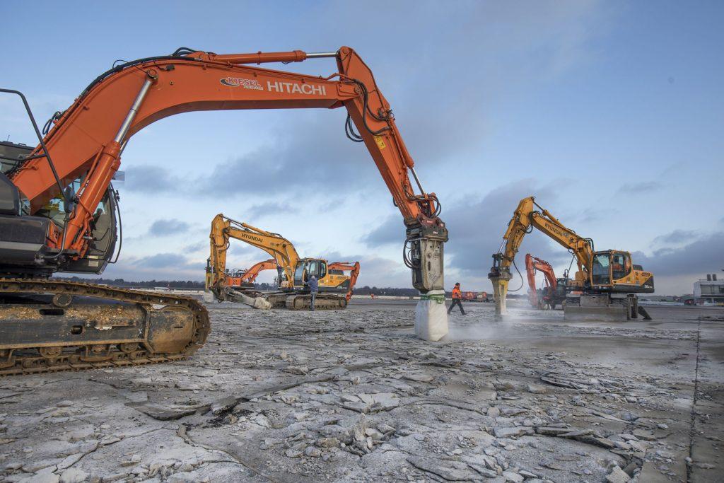 Bauarbeiten auf dem Hamburger Flughafen