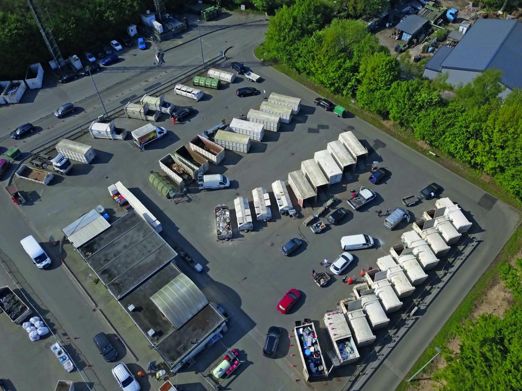 Recyclinghof Sasel, der größte von Deutschland, von oben