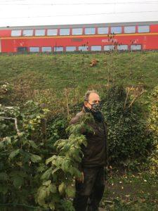 Der Garten grenz an den Bahndamm