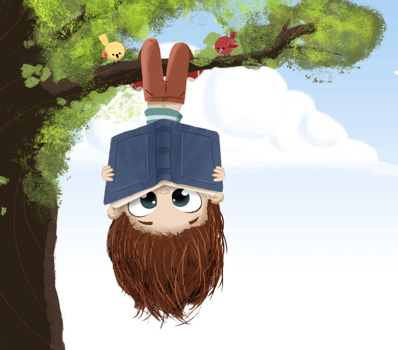 Kind mit Buch Illustration