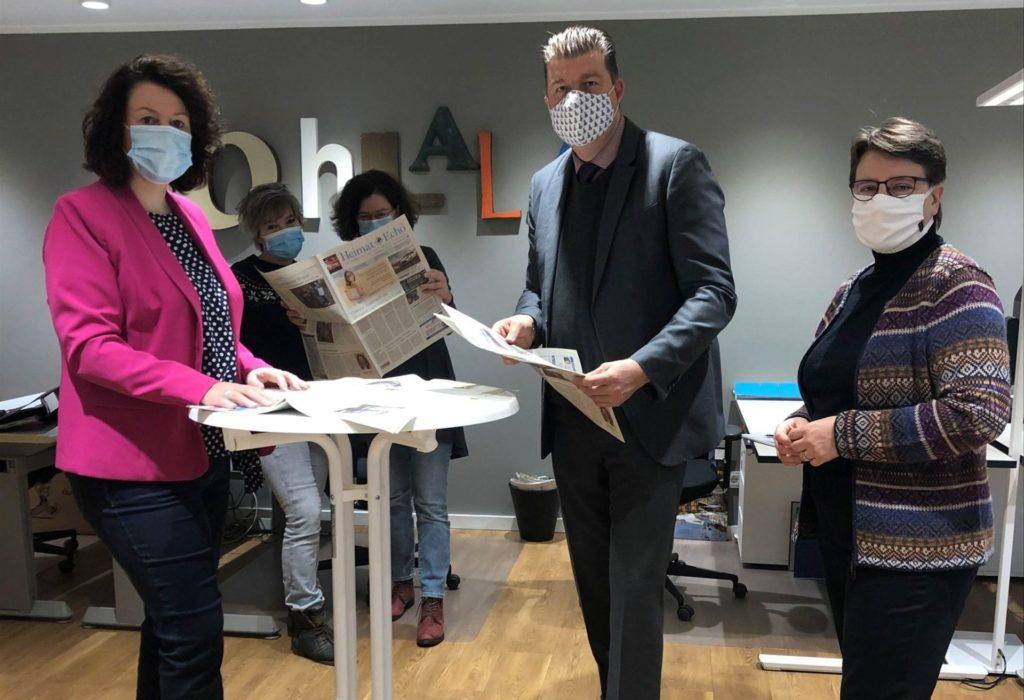 Finanzsenator Andreas Dressel auf Redaktionsbesuch im Heimat-Echo