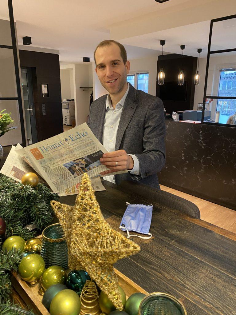 CDU Abgeordneter Dennis Thering beim Redaktionsbesuch beim Heimat-Echo in Poppenbüttel