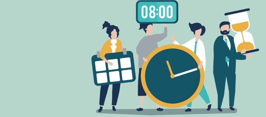 Illustration von Menschen, die um das Zeitmanagement schwirren, als Symbol für die Corona-Impflotsen