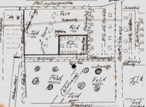 Skizze des KZ Sasel, gezeichnet von einem Zeitzeugen