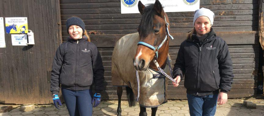 Zwei Mädchen stehen neben einem Pony