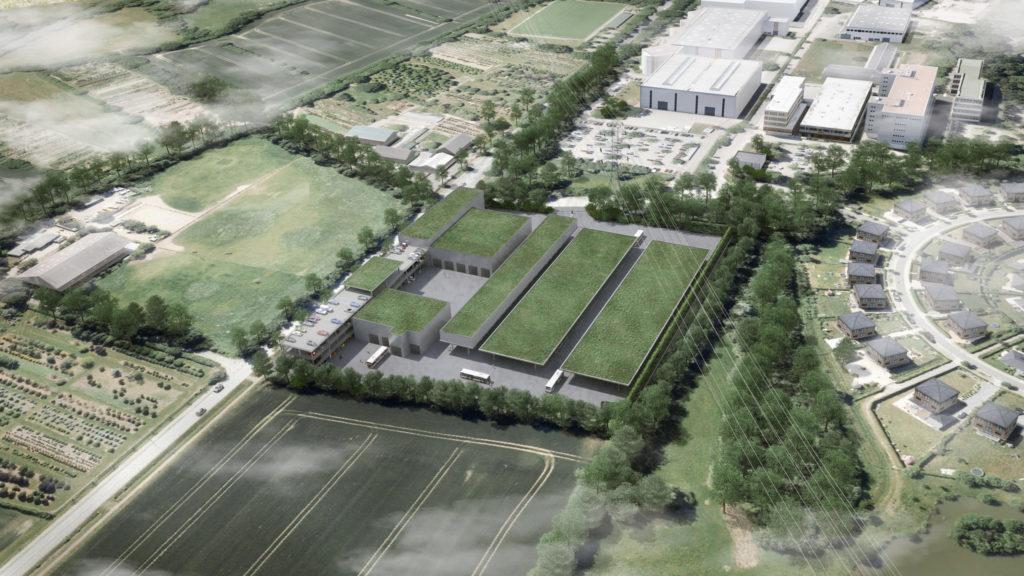 Visualisierung des geplanten Busbetriebshof in Meiendorf