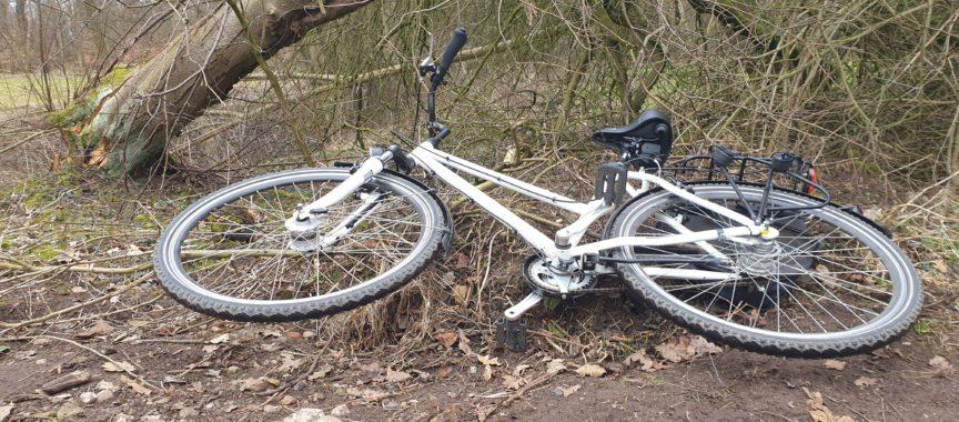 Weißes Fahrrad liegt geklaut im Gebüsch
