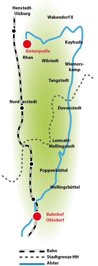 Karte Alster bis zur Quelle