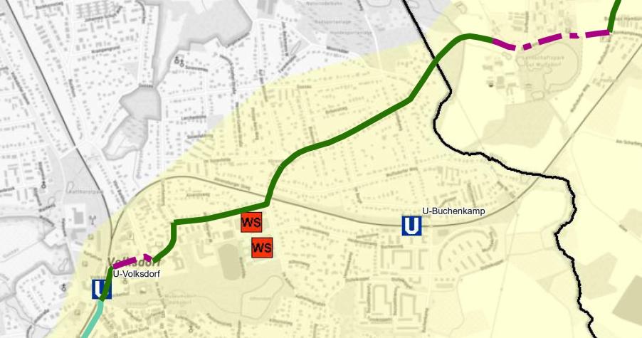 Karte Fahrradschnellweg Volksdorf Ahrensburg